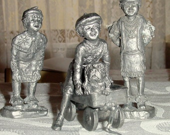 Vintage Set of Michael Ricker Pewter Figurines -  Two Indian Boys - Boy with Wagon and Dog - Hand Carved  Art Etched Sculpture Collectible