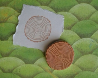 Tree Rings Rubber Stamp Hand Carved