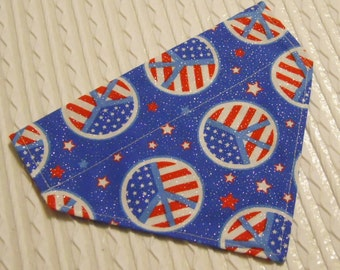 Dog Bandana with American Flag Peace Signs Sizes S to XL in Over Dog Collar Style