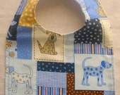 CLEARANCE 25% OFF SALE Baby Bib Dogs in Patchwork, Baby boy shower gift, Toddler Bib, Ready to ship