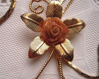 Vintage 1980s Mesh Rose Lariat Bolero Goldtone Necklace with Cobra Chain NOS