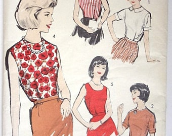 1960s Vintage Sewing Pattern Misses' Blouse Uncut