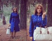 Kati trench. Royal blue 70s trench coat M
