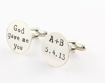 Personalized God Gave Me You Cufflinks - Custom Sterling Silver Cuff Links -  Father's Day Gift for Dad or Grandpa - Shirt Fastener Wedding