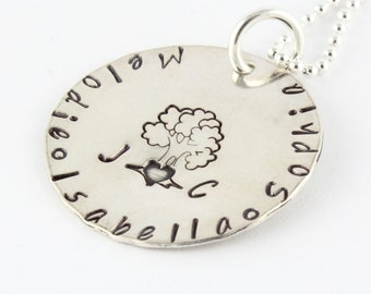 Mother's Day Gift for Mom - Personalized Family Tree Necklace - Custom Hand Stamped Sterling Silver Gift for Mom - Initials and Names