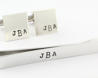 Personalized Cufflinks - Personalized Tie Bar - Father's Day Gift for Dad - Men's Cuff Links - Men's Gift Pack - Groomsmen Gift - Tie Clip