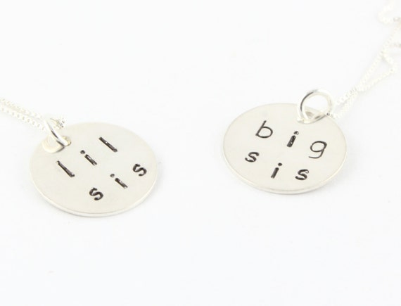 Big Sister or Little Sister Necklace - Big Sis - Lil Sis - Sibling Gift - New Baby Gift - Sterling Silver Hand Stamped Necklace