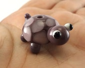 Purple Turtle Lampworked Glass Figurine Bead
