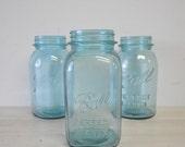 1950s vintage square shaped quart blue ball perfect mason jar---aqua glass