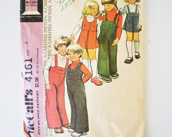 1970s vintage sewing pattern--McCalls 4161--childs jumper, overalls, vest and top - size 3