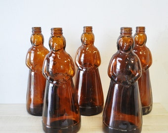 vintage amber colored Mrs. Buttersworth syrup bottle--collectible, vase, country farmhouse decor