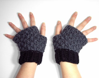 Short Fingerless Gloves, Knitted Wrist Warmers, Black and Gray