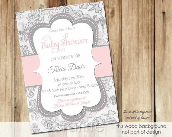 pink and gray baby shower invitation baby girl grey shimmer