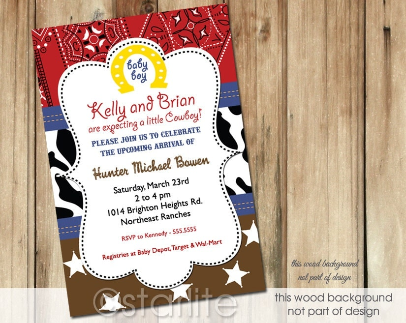 Starlite printables invitations stationery cowboy western theme my unique cowboy western theme baby shower invitation design features a red bandana print with sheriff stars and cow print available with white stars filmwisefo Gallery