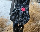 Large Black and Silver Floral Sparkle Handbag