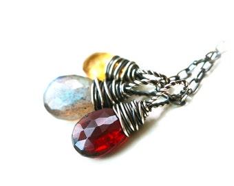 Gemstone Trio - Labradorite Garnet and Citrine Wire Wrapped Sterling Silver Necklace