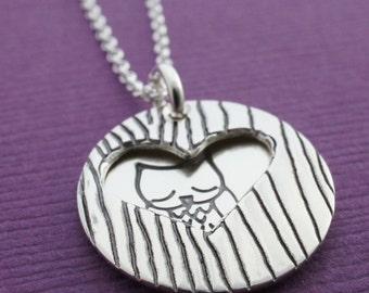 Owl Necklace - Peek-A-Boo Owl Necklace in Sterling Silver - Custom Hand Stamped Woodgrain, Faux Bois Jewelry by Eclectic Wendy Designs