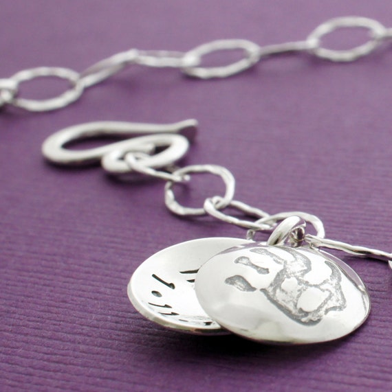 Mother's Mini Locket Bracelet in Sterling Silver - Hand Stamped, Engraved Child Name and Birthdate by EclecticWendyDesigns
