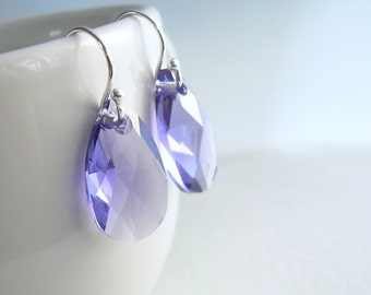 Tanzanite Crystal Earrings, Purple Drop Earrings, Lavender Jewelry