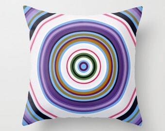 """Abstract decorative throw pillow cover ... from my original abstract modern painting, """"Halo Effect 2"""" ... 16"""" x 16"""""""