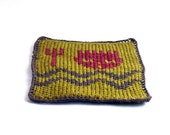 On Sale Marked Down 20% Knit and Crochet Coaster Personalized Aquarius Zodiac Mug Rug Olive Green Rust Brown