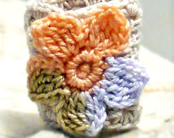 Crochet Ring Fiber Ring  Flower Applique Caramel Peach Wisteria on Ecru Band