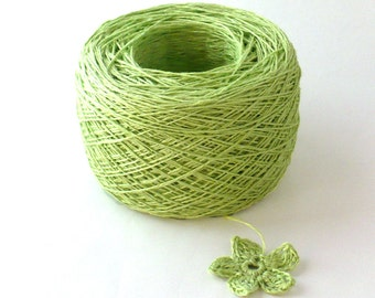 Crochet Thread 3 Ply Linen Thread Lime Linen Yarn Natural Fiber Tatting Thread Specialty Thread