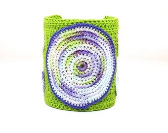 On Sale Marked Down 25% Crochet Cuff Bracelet Circle Motif Crochet Bracelet Spring Green Purple Lavender Pale Yellow Fiber Art Bracelet