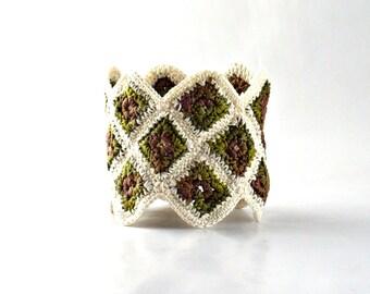Crochet Cuff Bracelet Fiber Bracelet Miniature Granny Square Crochet Bracelet in Olive Cream Brown