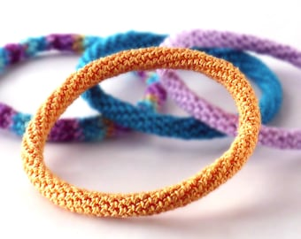 Crochet Bracelet Fiber Bracelet  Bangle Fine Thread Icord Rope Bracelet Light Orange