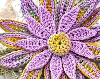 Crochet Brooch Fiber Brooch Irish Crochet Daisy Pin Sage Lavender Yellow Pale Orange Crochet Flower Pin Granny Floral Crochet Pin