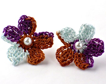 Flower Crochet Earrings Stud Earrings Hypoallergenic Wisteria Fuschia Dark Orange