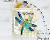 Recycled Scrabble Tile Resin Pendant- Believe Dragonfly