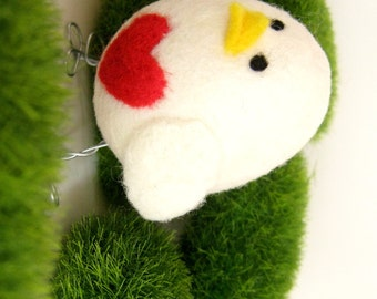 Needle Felted Bird - White Wool Felted Chick - Red Heart - Easter Decoration - Branch - Valentine