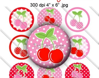 Cherry Bottle Cap Images 1 Inch Circles Round Graphics Digi Collage 4x6 Pink Red Polka dot gingham - Instant Download - BC249