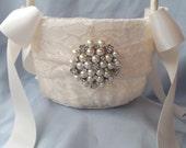 Ivory Flower Girl Basket Flower Girl Basket Pearl Rhinestone Accent Wedding Basket Unique