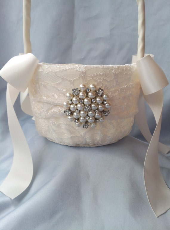 Flower Girl Baskets Ivory Uk : Ivory flower girl basket pearl rhinestone