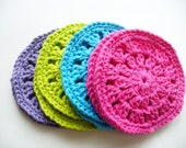 Set of 8 Bright Crocheted Coasters - ACCrochet