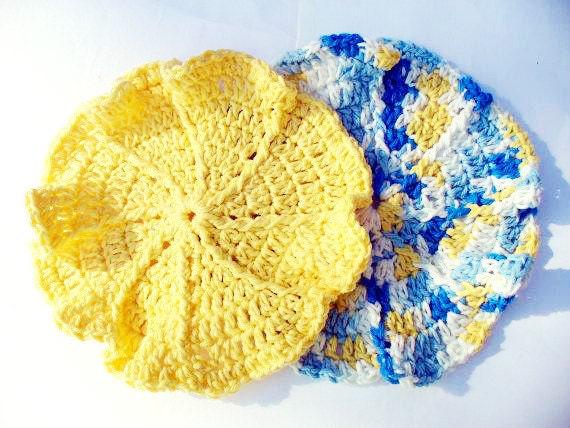 Pretty Blue & Yellow Dish Cloth Set
