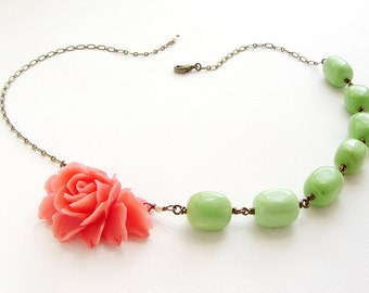 Coral red kiwi green necklace, statement necklace, bridesmaid jewelry, coral red rose necklace, bridesmaid necklace