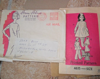 Vintage 1973 Anne Adams Pattern Girls Dress Pattern in size 8 includes original envelope