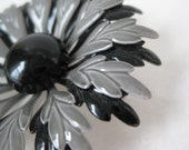 Flower Brooch Black Gray Enamel Vintage Pin