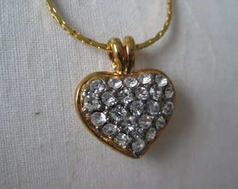 Heart Rhinestone Gold Necklace Clear Vintage Pendant