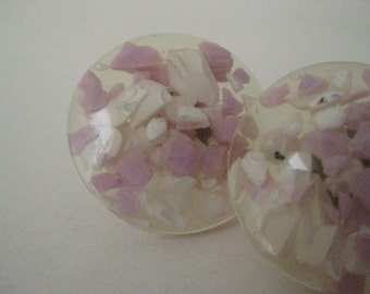 Pink White Confetti Earrings Pierced Post Vintage