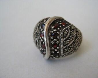 Garnet Marcasite Ring Sterling Silver Vintage Size 8 925