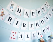 Alice in Wonderland banner playing card printable banner DiY personalized birthday party editable PDF files