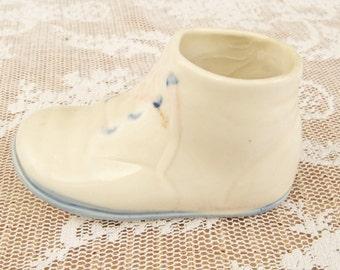 Vintage Porcelain Baby Shoe Blue