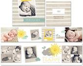 Sunshine 3x3 Mini Accordion Album for Newborns, Children, Families - Photoshop Templates for Photographers - AM0002 - Instant Download
