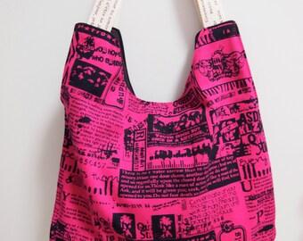 Pink newspaper print tote - OOAK