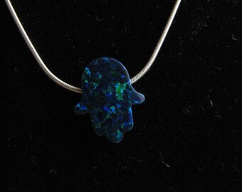 Emerald Green Opal Hamsa Hand Necklace on Sterling Silver Chain